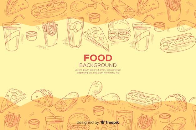 Fundo de alimentos em estilo esboçado