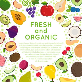 Fundo de alimentos orgânicos com modelo de texto