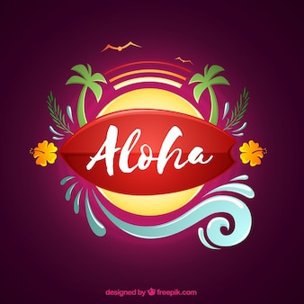 Fundo de aloha com sol e palmeiras