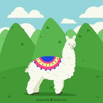 Fundo de alpaca com colinas