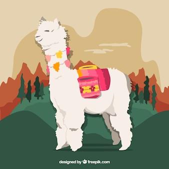 Fundo de alpaca na paisagem