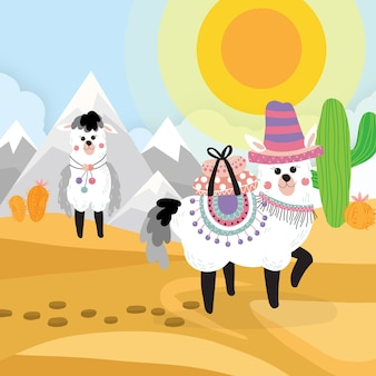 Fundo de alpaca no deserto