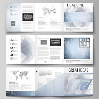 Fundo de alta tecnologia. três capas criativas modelos de design para brochura quadrada ou flyer.
