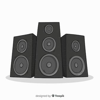 Fundo de alto-falante preto mão desenhada