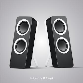Fundo de alto-falante preto realista 3d