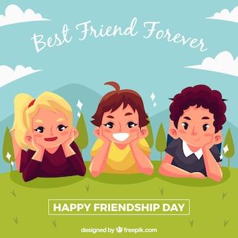 Fundo de amigos felizes