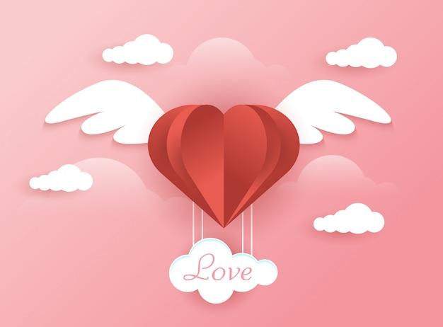 Fundo de amor com conceito de anjo
