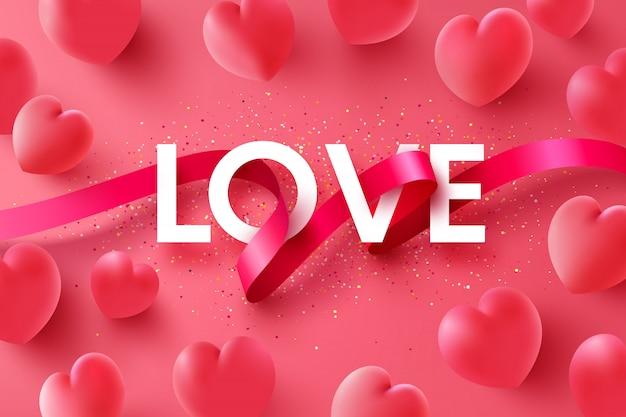 Fundo de amor e dia dos namorados com a fita da palavra