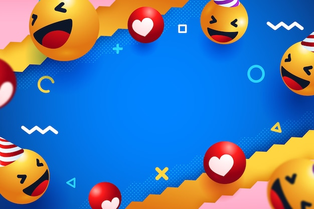 Fundo de amor emoji de estilo realista