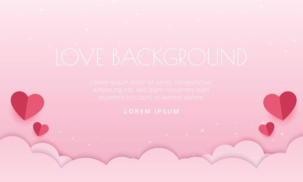 Fundo de amor romântico com coração 3d realista pode ser usado para banner de dia dos namorados