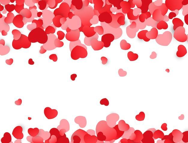 Fundo de amor. textura de dia dos namorados com corações vermelhos.