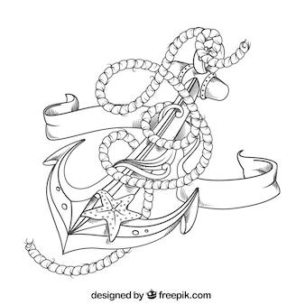 Fundo de âncora desenhado à mão