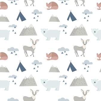 Fundo de animais da floresta sem costura com giro veado