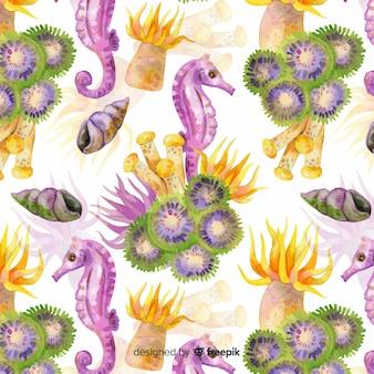 Fundo de animais de coral e mar aquarela