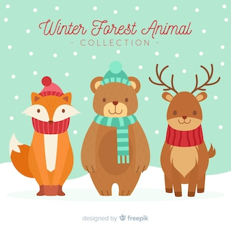 Fundo de animais de inverno bonito