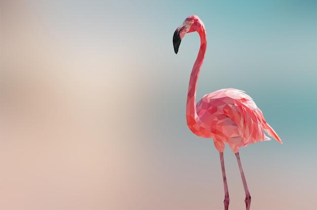 Fundo de animais poligonal geométrica flamingo