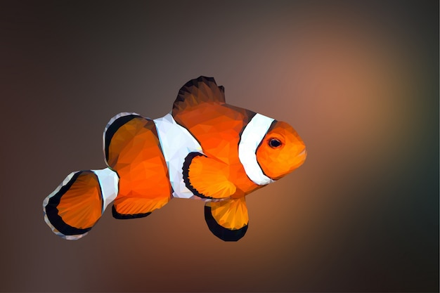 Fundo de animais poligonal palhaço geométrico de peixe