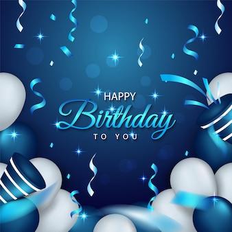 Fundo de aniversário azul com balões realistas premium