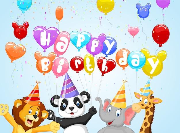 Fundo de aniversário com animais felizes