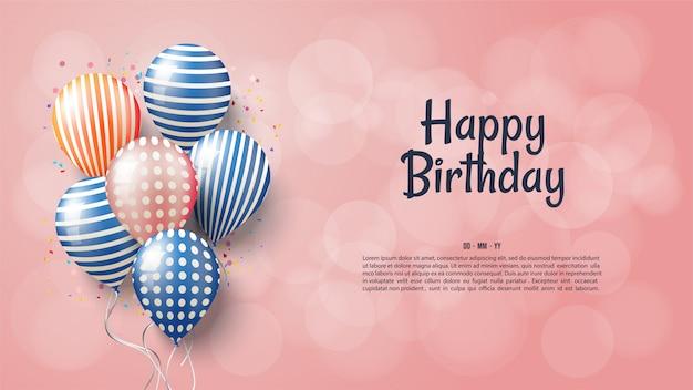 Fundo de aniversário com balões 3d coloridos.