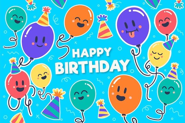 Fundo de aniversário com balões coloridos