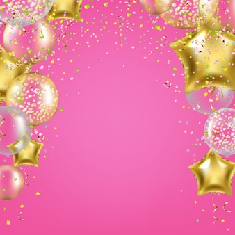 Fundo de aniversário com balões de estrelas douradas