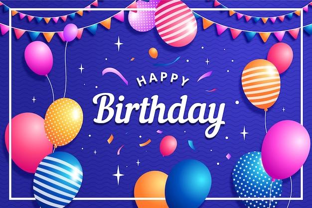 Fundo de aniversário com balões e confetes