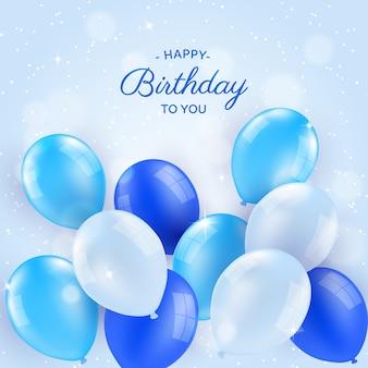 Fundo de aniversário com balões em estilo realista