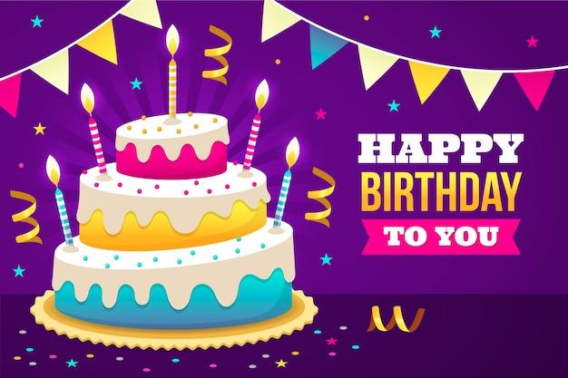 Fundo de aniversário com bolo delicioso