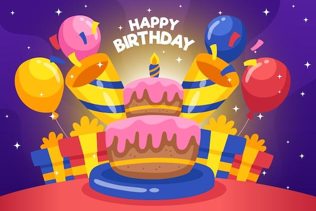 Fundo de aniversário com bolo e balões