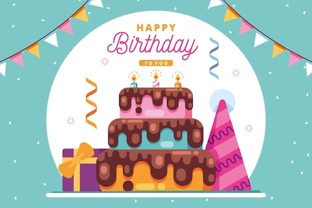 Fundo de aniversário com bolo e guirlandas