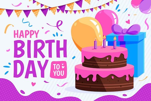 Fundo de aniversário com bolo