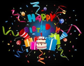 Fundo de aniversário com confete e bolo