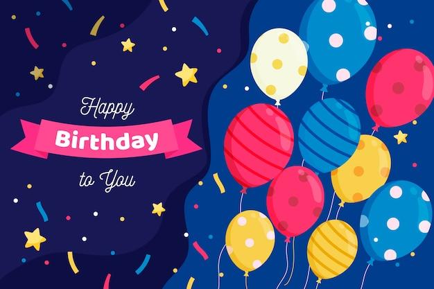 Fundo de aniversário com estrelas e balões