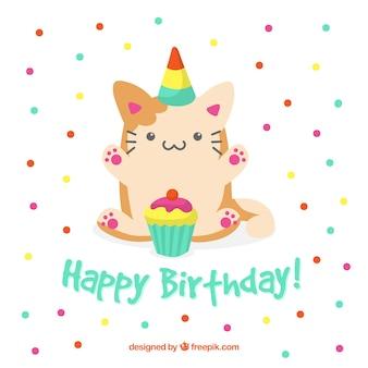 Fundo de aniversário com gato fofo