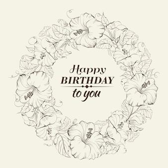 Fundo de aniversário com grinalda floral