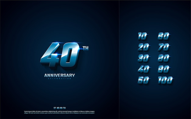 Fundo de aniversário com ilustração de tecnologia de números azul.