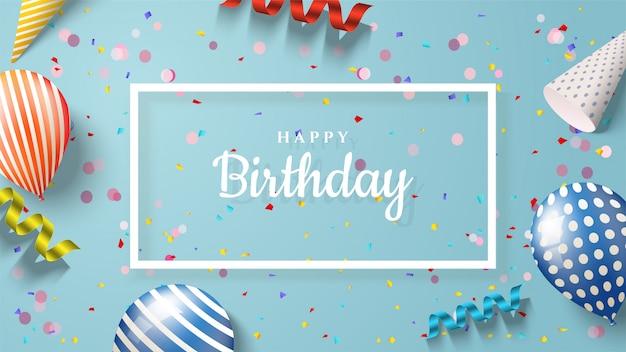 Fundo de aniversário com ilustrações de balão, chapéus de aniversário e fitas 3d.