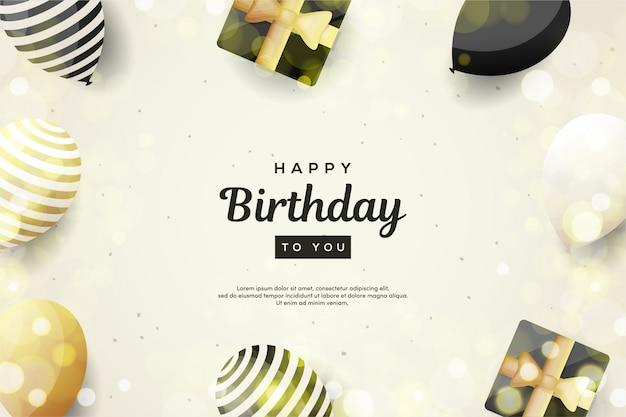 Fundo de aniversário com ilustrações de balões e caixas de presente 3d na escrita preta.
