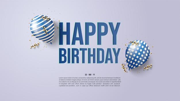 Fundo de aniversário com ilustrações de dois balões 3d azuis.