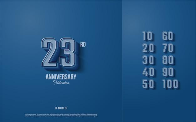 Fundo de aniversário com ilustrações de figuras em azul marinho e azul escuro.
