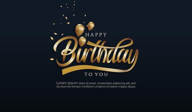 Fundo de aniversário com letra gradiente de ouro