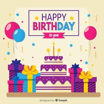 Fundo de aniversário com presentes e bolo