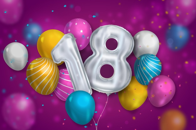 Fundo de aniversário de 18 anos com balões realistas