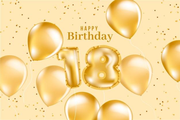 Fundo de aniversário de 18 anos com balões