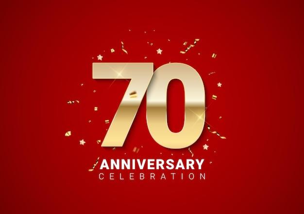 Fundo de aniversário de 70 com números dourados, confetes, estrelas em fundo vermelho brilhante nas férias. ilustração vetorial eps10
