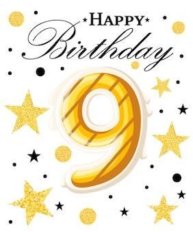 Fundo de aniversário de ano de celebração de aniversário de nono ano com fita vermelha e confetes em branco. modelo de cartaz ou brochura. ilustração. página do site e aplicativo móvel.