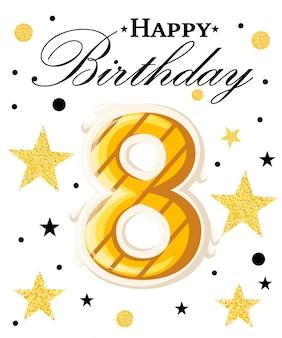 Fundo de aniversário de ano de comemoração de aniversário de oitavo ano com fita vermelha e confetes em branco. modelo de cartaz ou brochura. ilustração. página do site e aplicativo móvel.