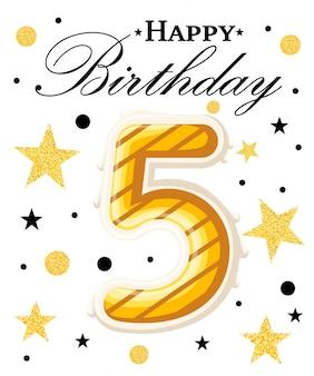 Fundo de aniversário de ano de comemoração de aniversário de quinto ano com fita vermelha e confetes em branco. modelo de cartaz ou brochura. ilustração. página do site e aplicativo móvel.