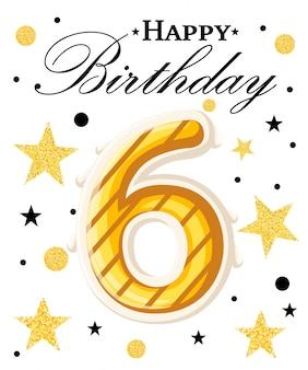 Fundo de aniversário de ano de comemoração de aniversário de sexto ano com fita vermelha e confetes em branco. modelo de cartaz ou brochura. ilustração. página do site e aplicativo móvel.